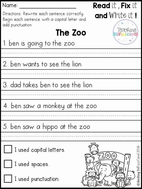 First Grade Sentence Writing Worksheets Best Of Best 25 Simple Sentences Worksheet