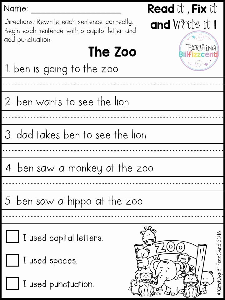 First Grade Sentence Writing Worksheets top Free Fix It Up Sentences