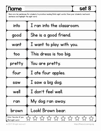 First Grade Sight Word Worksheets Best Of Sight Words Reading Practice List 8