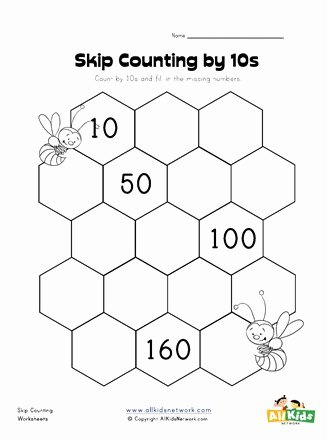 First Grade Skip Counting Worksheets Printable Skip Counting by Tens Worksheet