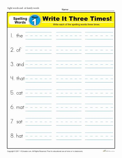 First Grade Spelling Words Worksheets Fresh First Grade Spelling Words List Week 1