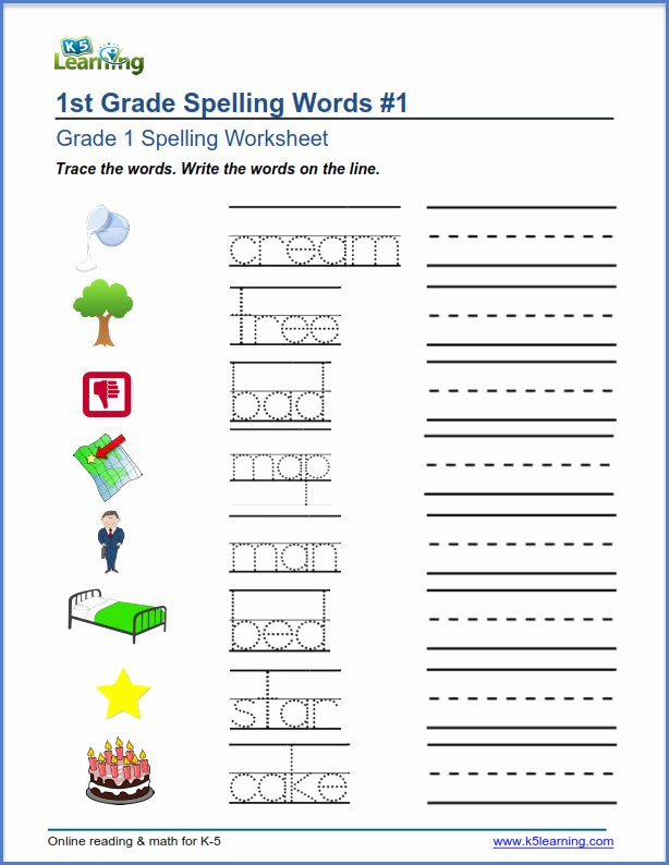 First Grade Spelling Words Worksheets Ideas First Grade Spelling Worksheets K5 Learning Writing for
