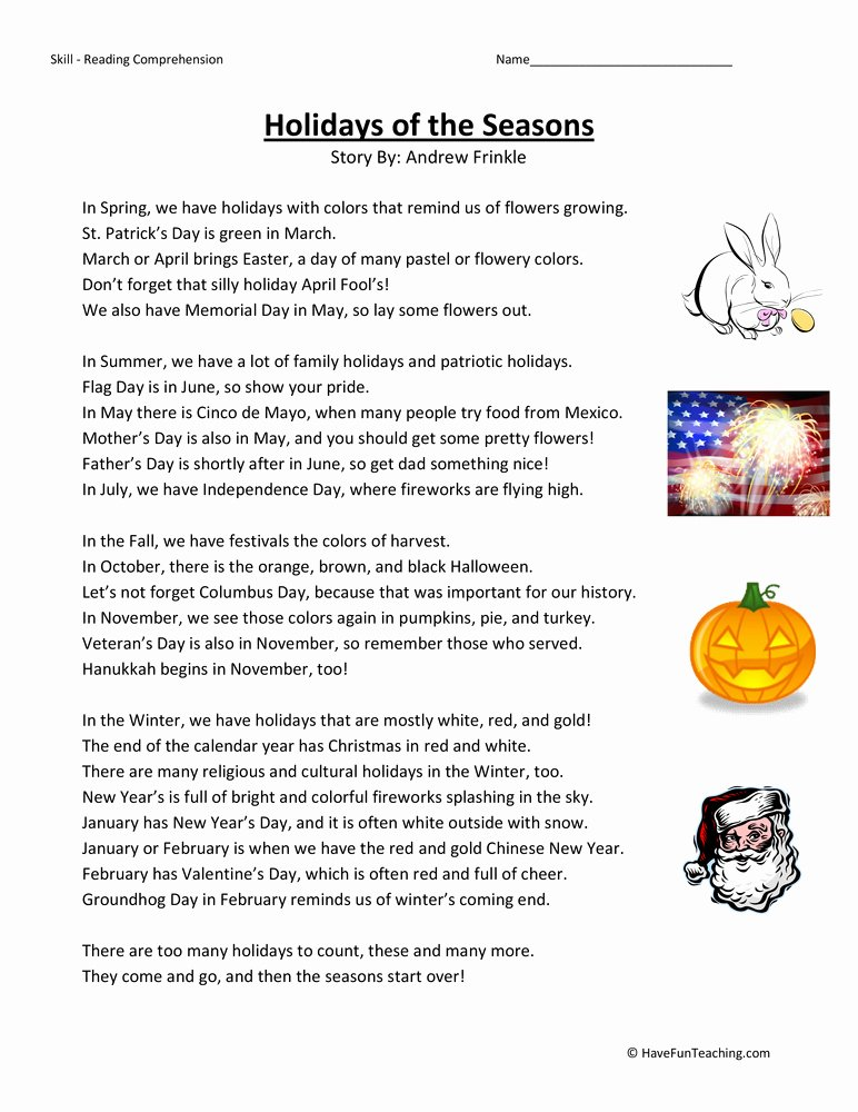 Flag Day Reading Comprehension Worksheets Best Of Holidays by Season Reading Prehension Worksheet