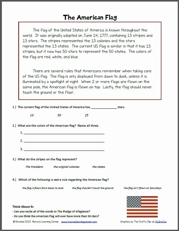 Flag Day Reading Comprehension Worksheets Ideas Reading Prehension the American Flag