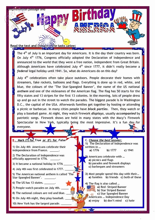 Flag Day Reading Comprehension Worksheets Inspirational July 4th Happy Birthday America English Esl Worksheets