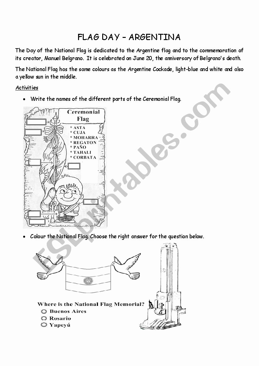 Flag Day Reading Comprehension Worksheets New Argentina Flag Day Esl Worksheet by Maryrech