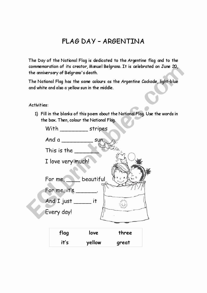 Flag Day Reading Comprehension Worksheets top Argentina Flag Day Esl Worksheet by Maryrech