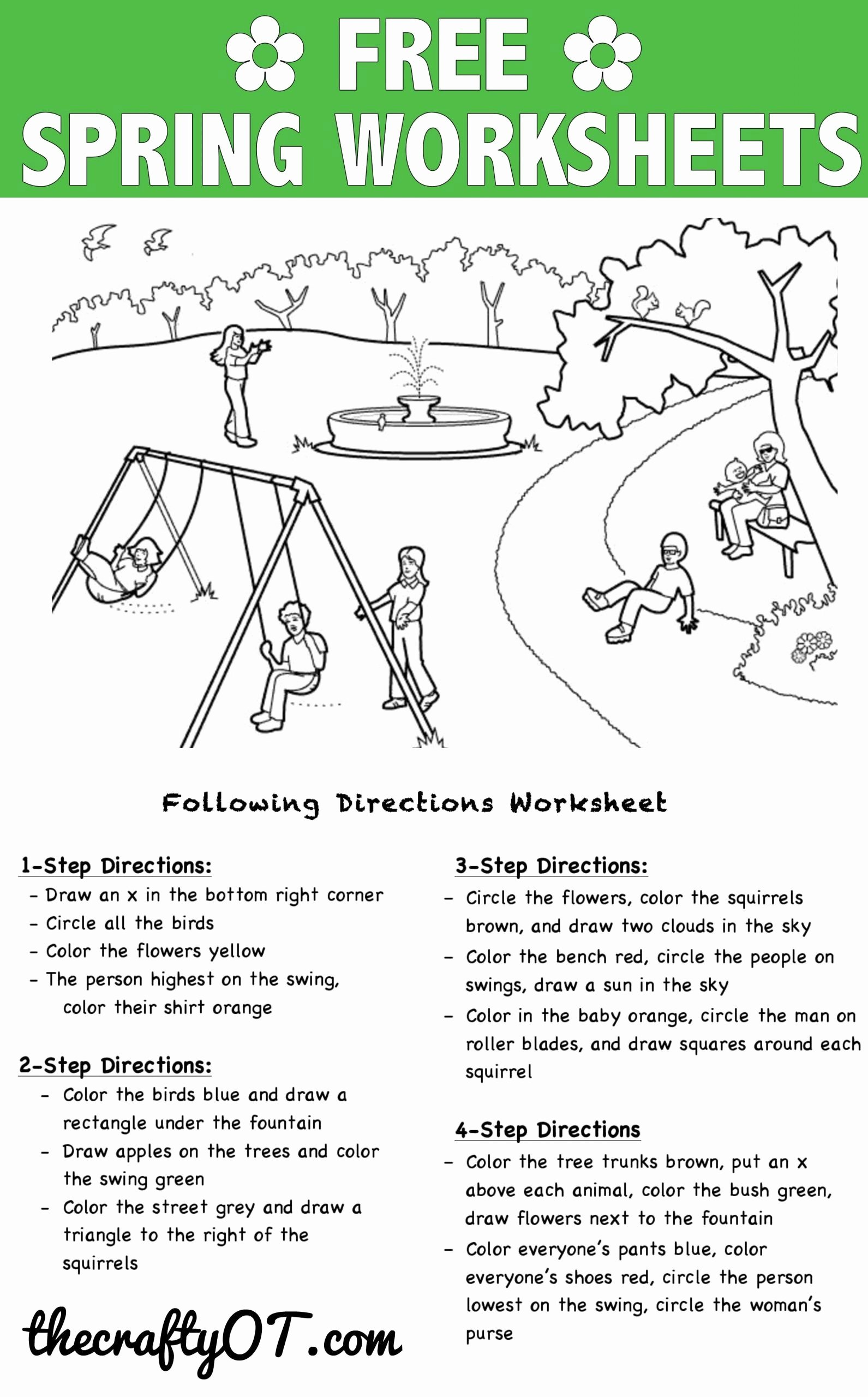 Following 2 Step Directions Worksheets Lovely Following Directions Worksheets Kindergarten In 2020