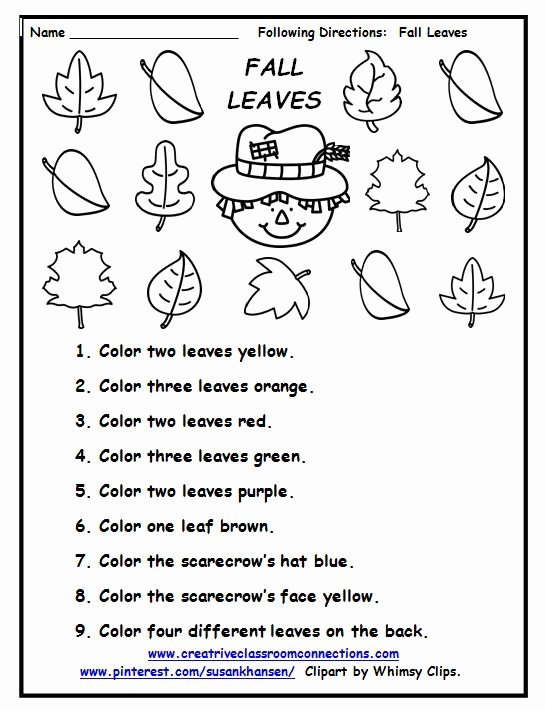 Following 2 Step Directions Worksheets New Pin by Sarah Higdon Slp Ideas with Fall