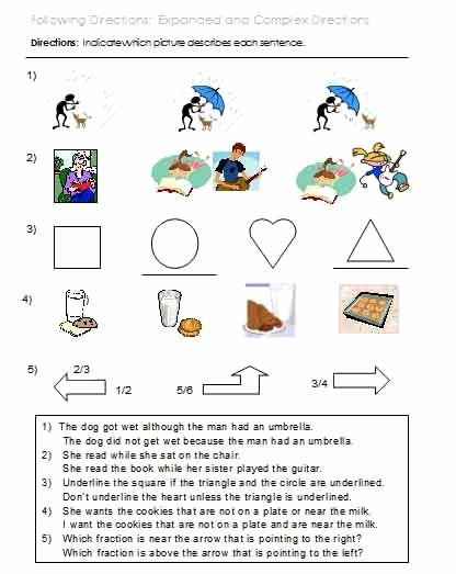 Following 2 Step Directions Worksheets Printable Following Directions Worksheets Activities Goals and