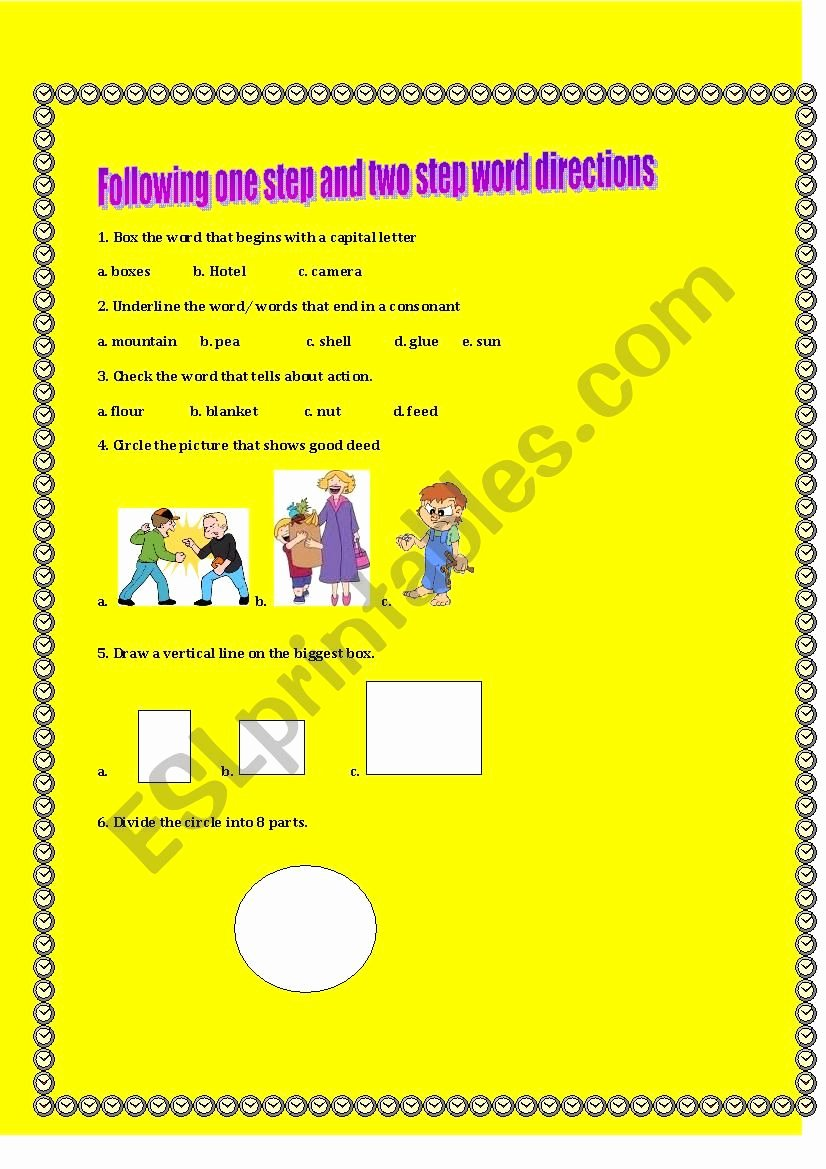 Following 2 Step Directions Worksheets Printable Following One Step and Two Step Word Directions Esl