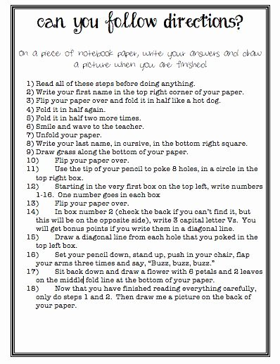 Following Directions Worksheet Middle School Printable Following Directions Worksheet Middle School Inspirational