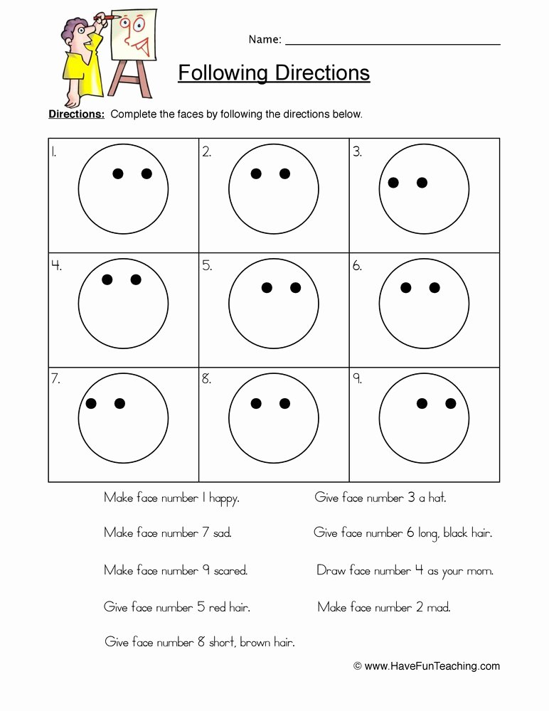 Following Directions Worksheet Third Grade Best Of Smilies Follow Directions Worksheet