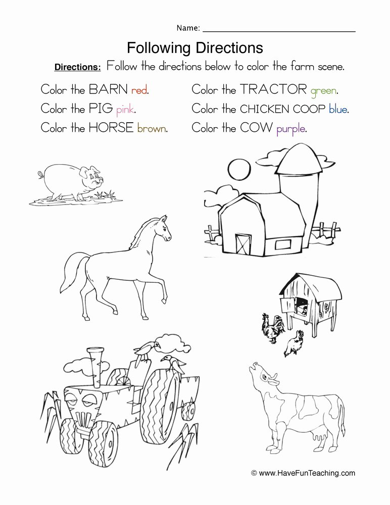 Following Directions Worksheet Third Grade Inspirational Following Directions Coloring Worksheet