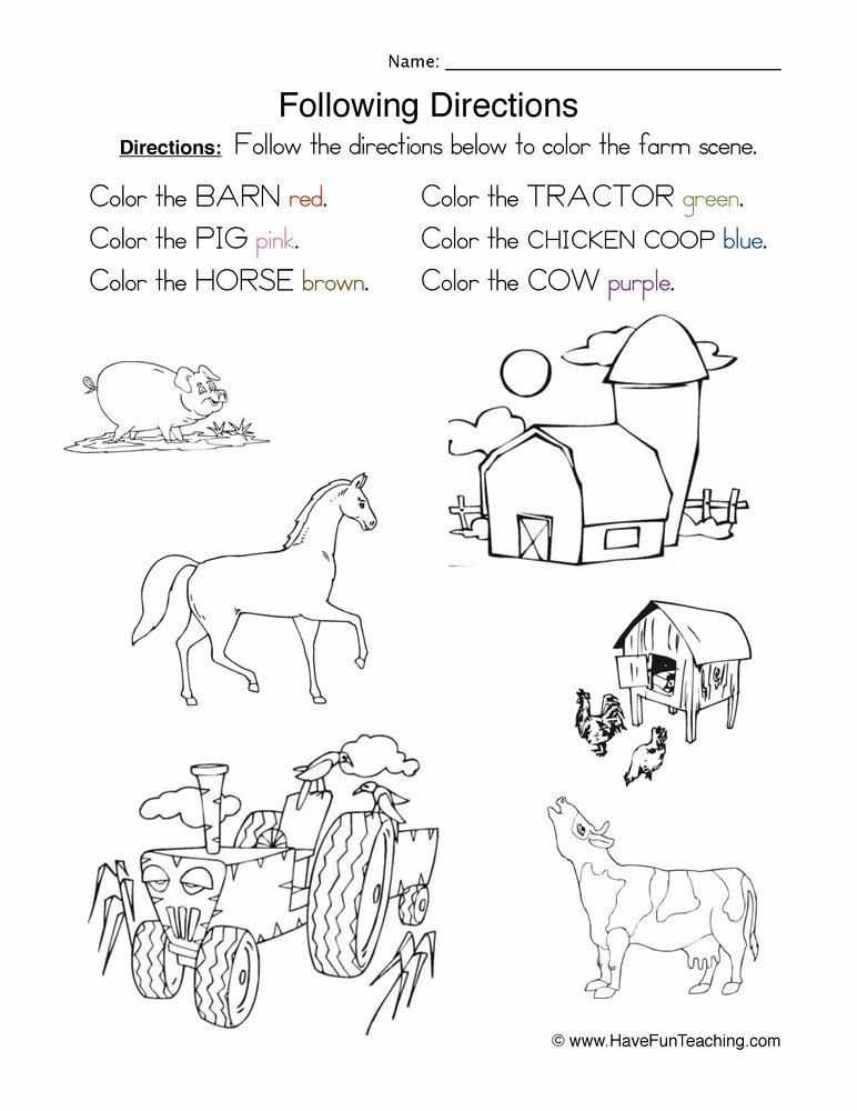 Following Directions Worksheet Third Grade Inspirational Following Directions Coloring Worksheet
