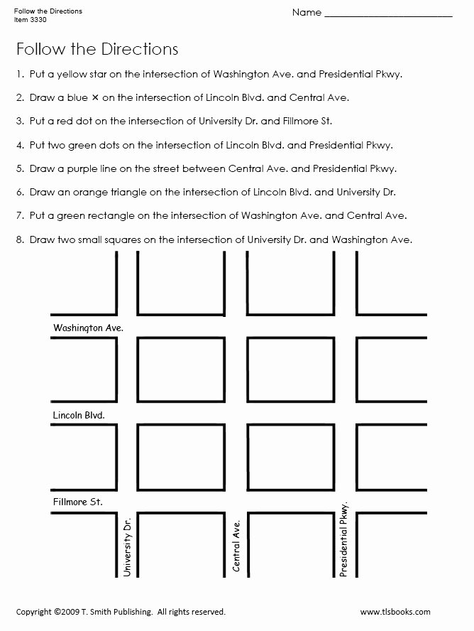 Following Directions Worksheet Third Grade New Follow the Directions Map Grid Worksheet 1