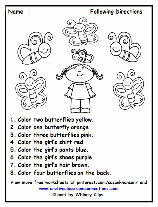 Following Directions Worksheet Third Grade Printable Free Following Directions Worksheet with Color Words