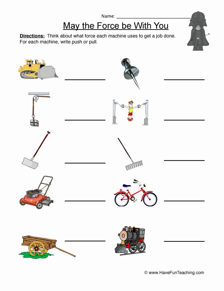 Force and Motion Kindergarten Worksheets top Labeling force and Motion Worksheet
