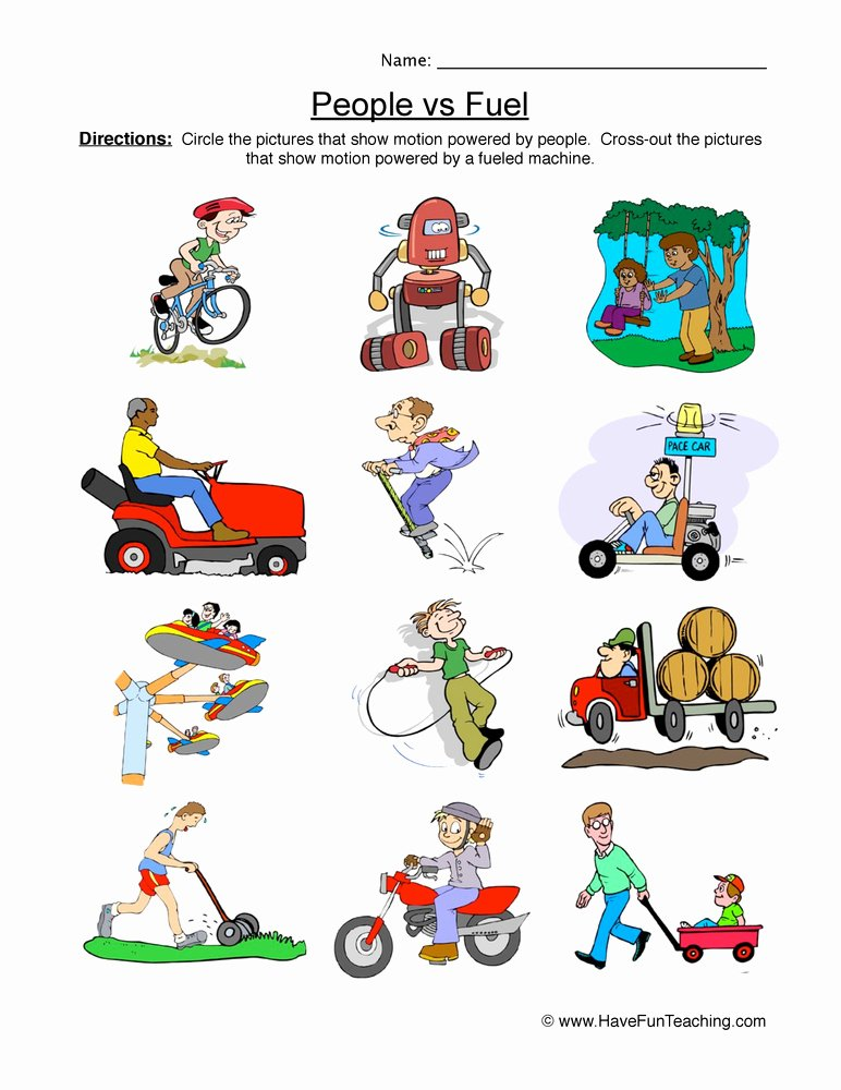 Force and Motion Kindergarten Worksheets top Man and Fuel Powered Worksheet