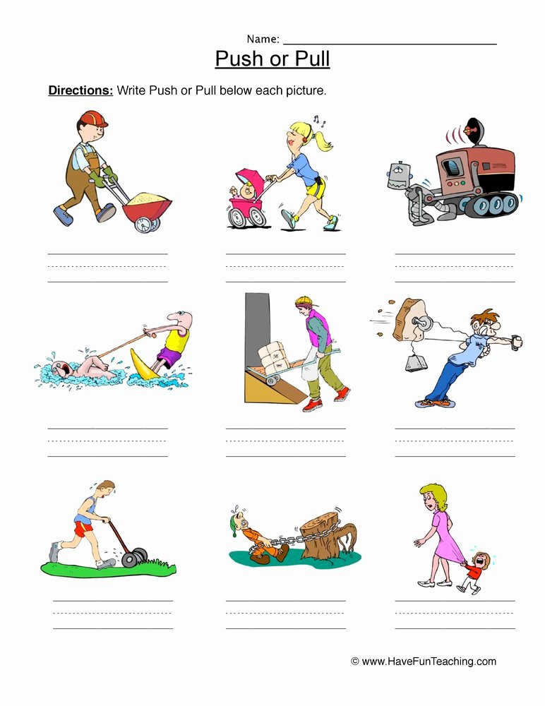 Force and Motion Kindergarten Worksheets top Push or Pull force Worksheet