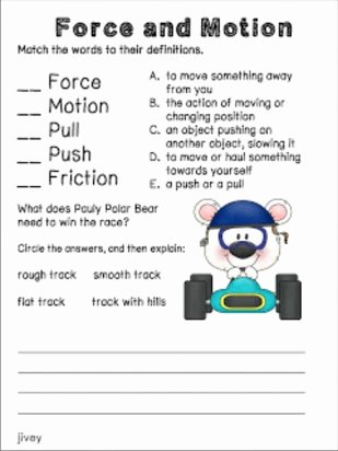 Force and Motion Printable Worksheets Kids Free Printable force and Motion Worksheets
