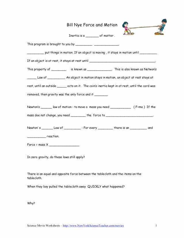 Force and Motion Worksheet Answers Kids Bill Nye force and Motion Worksheet for 5th 9th Grade