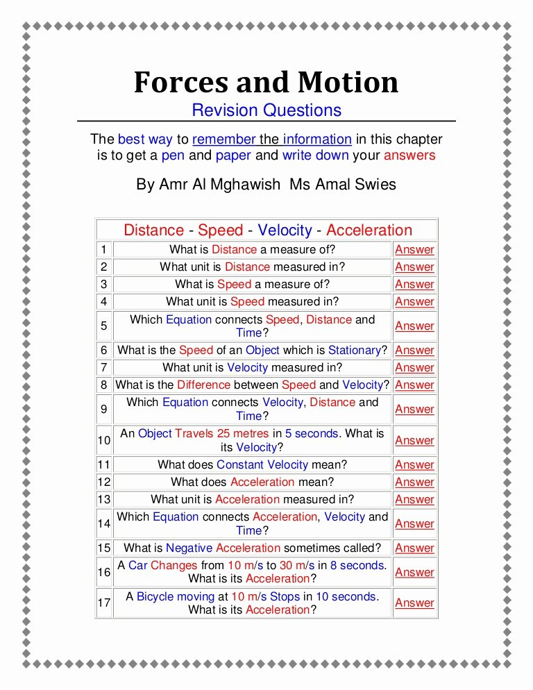 Force and Motion Worksheet Answers Lovely forces and Motion