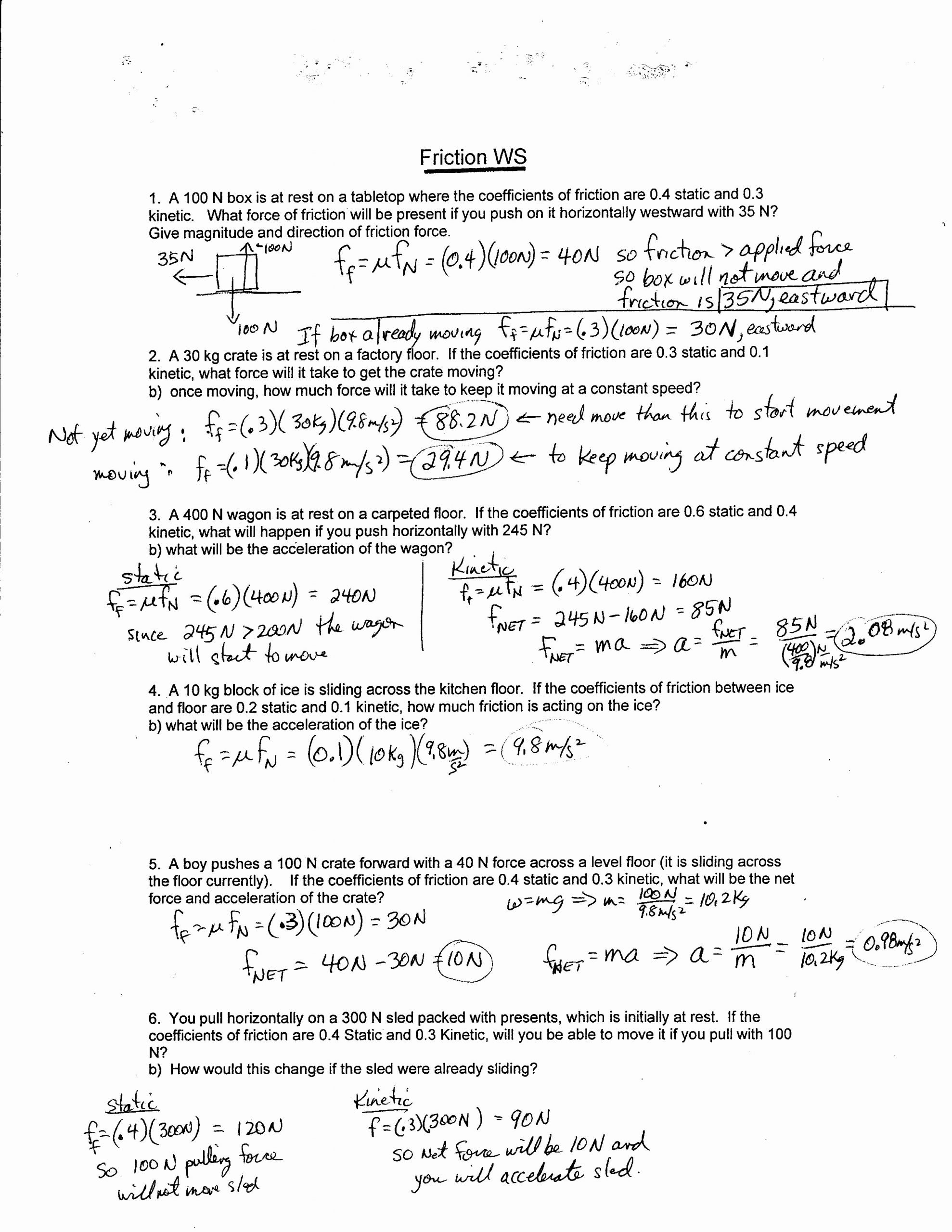 Forces Worksheet 1 Answer Key New Physics 11 2017 force Worksheets