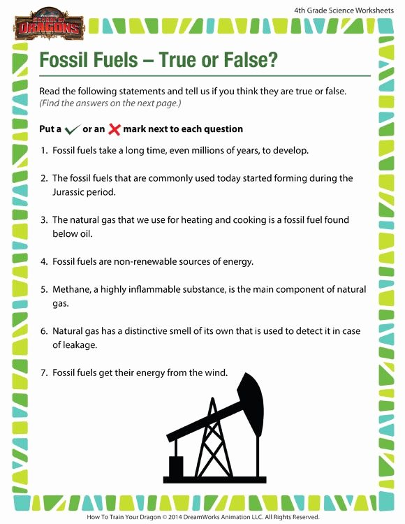 Fossil Fuels Worksheet Middle School Fresh Fossil Fuels – True or False View – Free Science Worksheet
