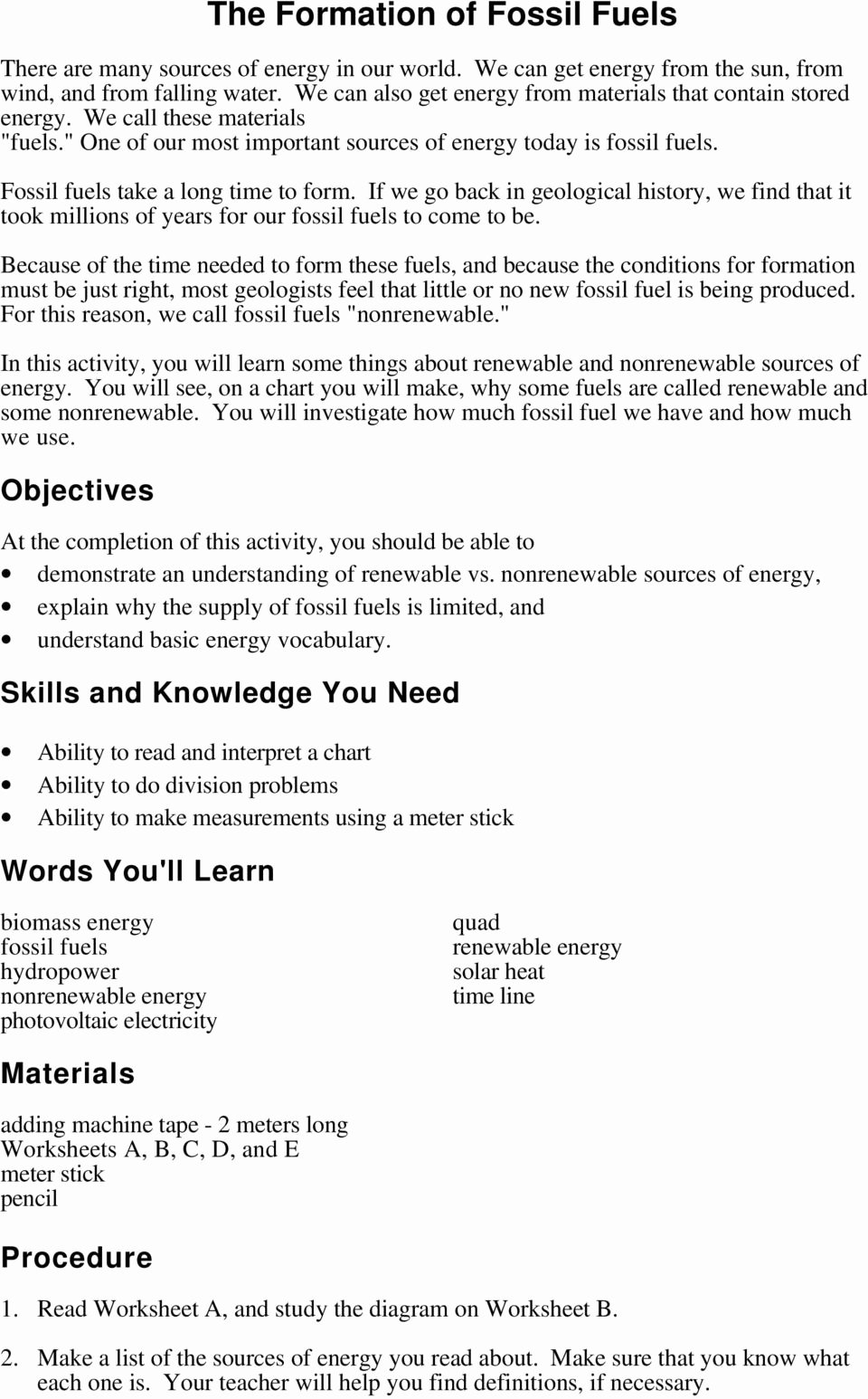 Fossil Fuels Worksheet Middle School Lovely the formation Of Fossil Fuels Pdf Free Download