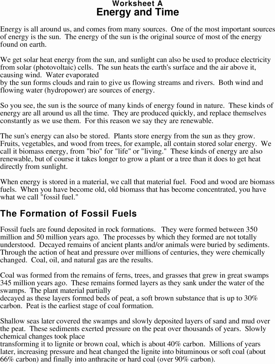 Fossil Fuels Worksheet Middle School New the formation Of Fossil Fuels Pdf Free Download