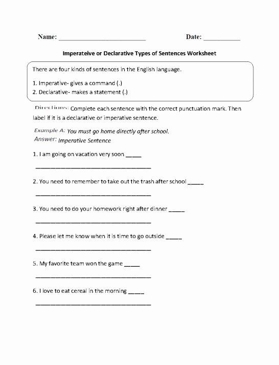 Four Kinds Of Sentences Worksheets Fresh 12 4 Types Sentences Worksheet 5th Grade Grade