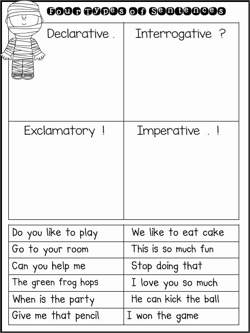 Four Kinds Of Sentences Worksheets Kids Preschoolers Science Sentence Type Worksheets Dexterity Four