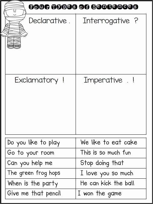 Four Types Of Sentences Worksheet Free Types Sentences Worksheet Preschoolers Science Sentence