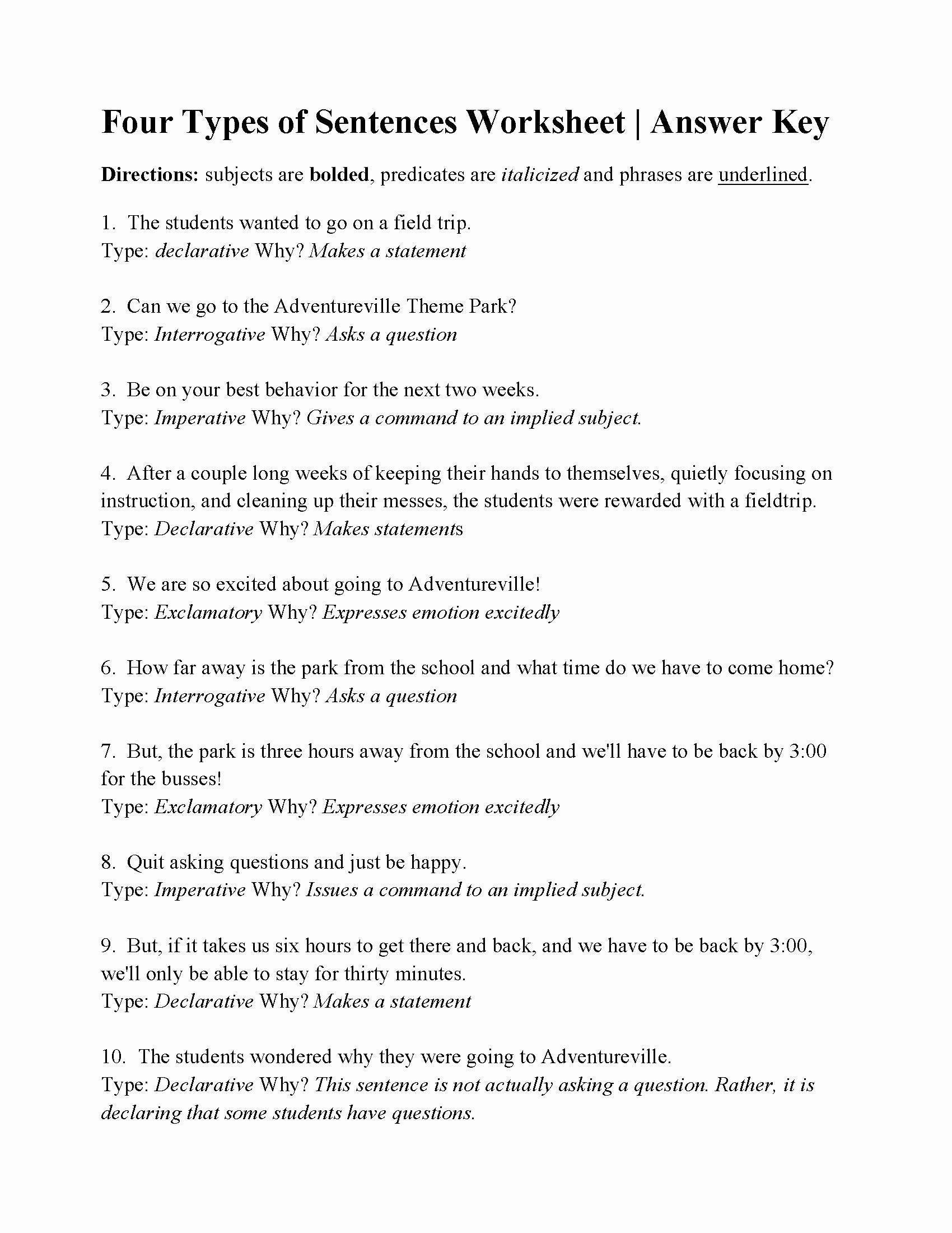 Four Types Of Sentences Worksheet Ideas Four Types Of Sentences Worksheet