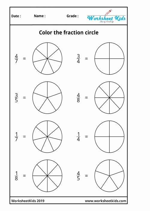 Fraction Coloring Worksheets 5th Grade Printable Fraction Circles Coloring Printable Worksheets Free Pdf