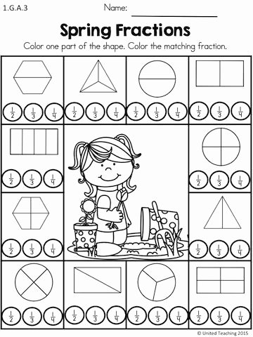 Fraction Worksheets for 1st Grade Free Spring Math Worksheets 1st Grade Distance Learning