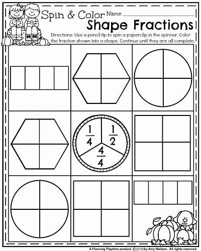 Fraction Worksheets for 1st Grade top October First Grade Worksheets Planning Playtime