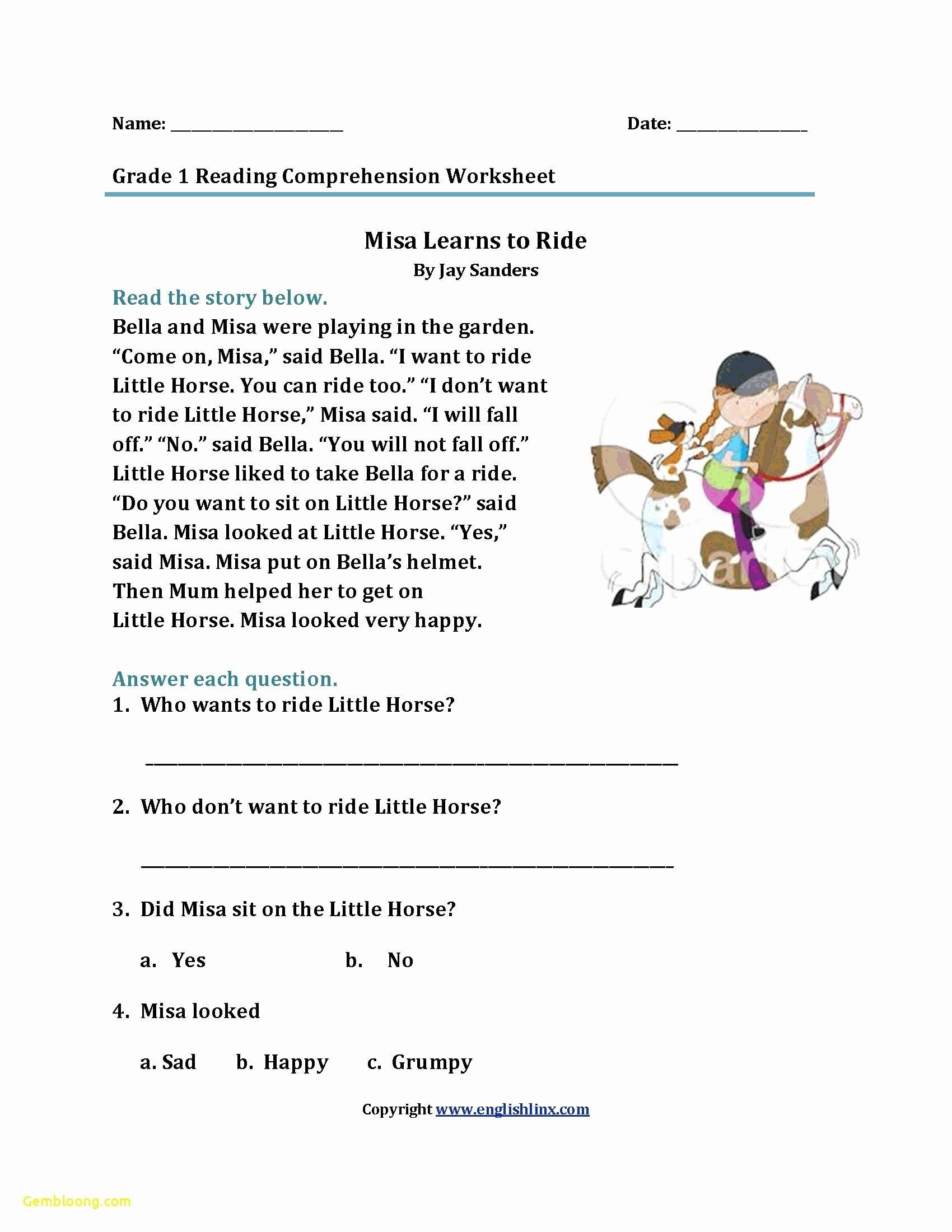 Free 1st Grade Comprehension Worksheets Best Of Prime 2nd Grade Prehension Worksheets