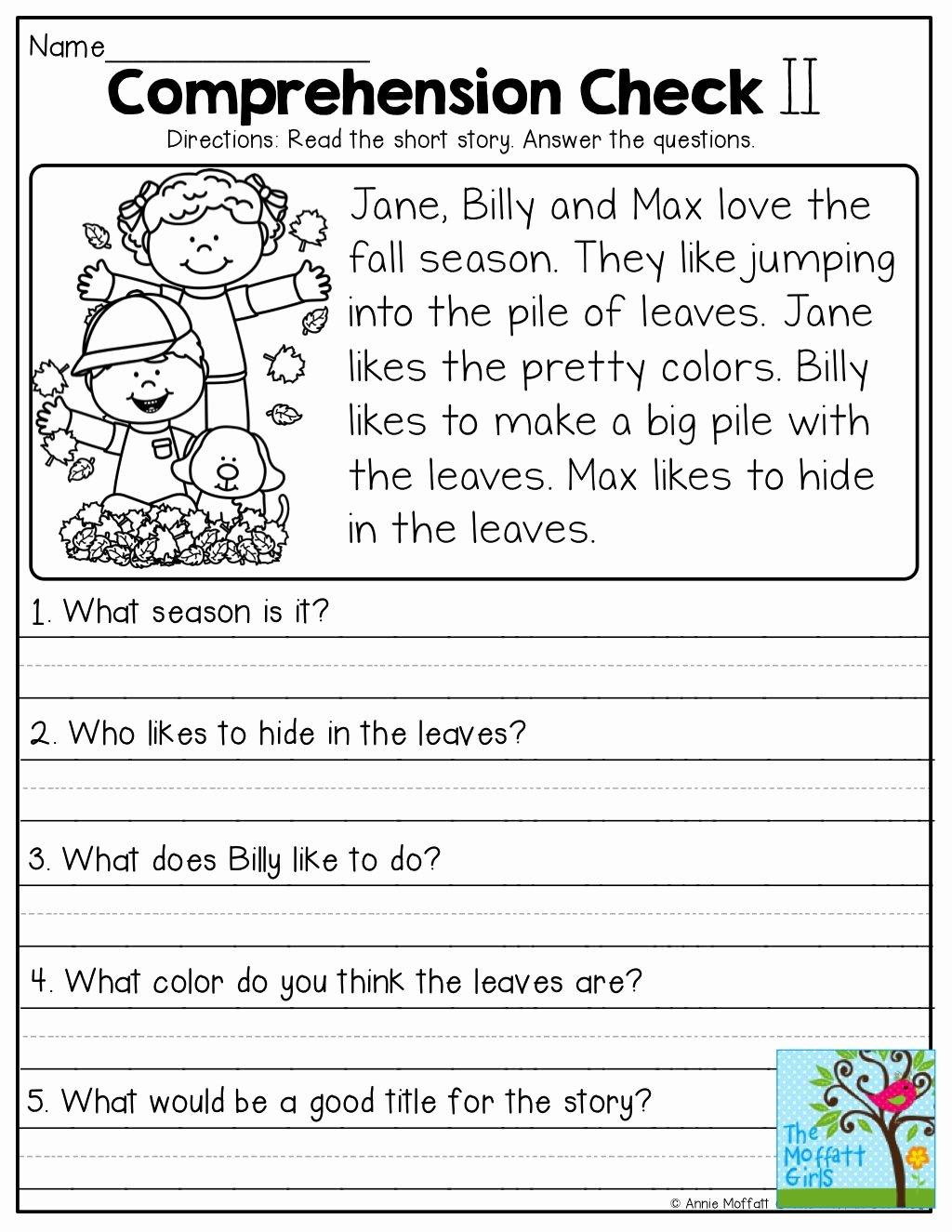 Free 1st Grade Comprehension Worksheets New Worksheet Worksheet Short Stories for 1st Graders with