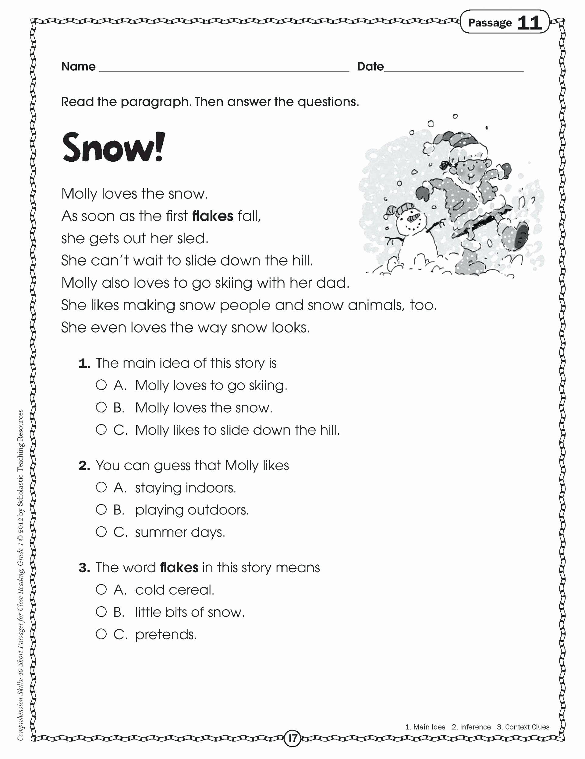 Free 1st Grade Comprehension Worksheets Printable Math Worksheet First Grade Prehension Passagesree