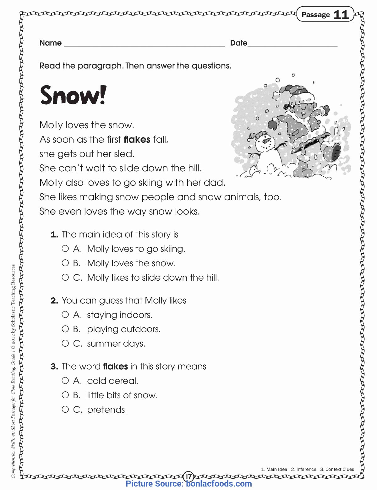 Free 2nd Grade Comprehension Worksheets Free Math Worksheet Math Worksheet Free Reading Prehension