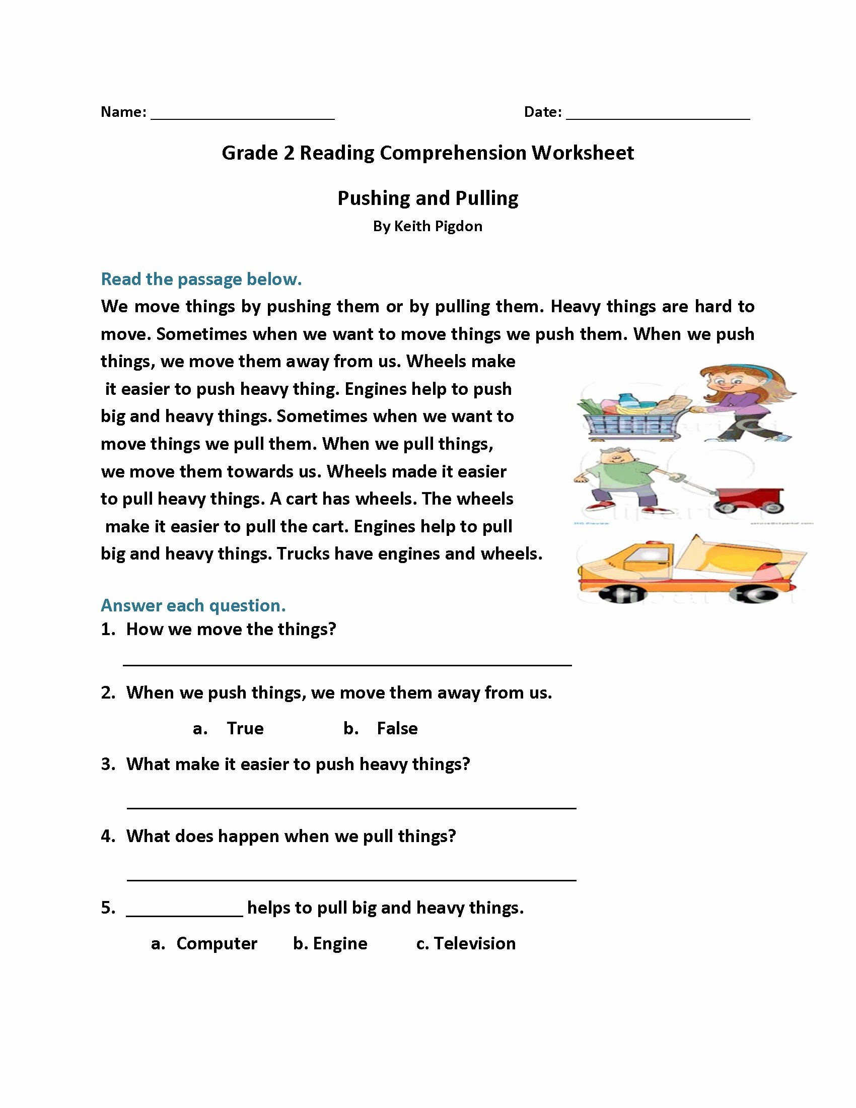 Free 2nd Grade Comprehension Worksheets Lovely Math Worksheet 2nd Gradeading Worksheets Best Coloring