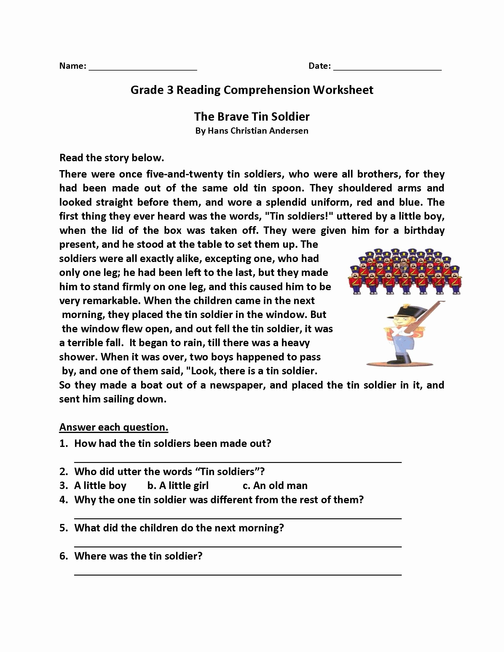 Free 2nd Grade Comprehension Worksheets Printable Math Worksheet Math Worksheetde Reading Prehension