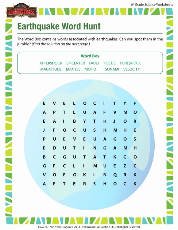 Free 6th Grade Science Worksheets Fresh Earthquake Word Hunt Free 6th Grade Science Worksheet