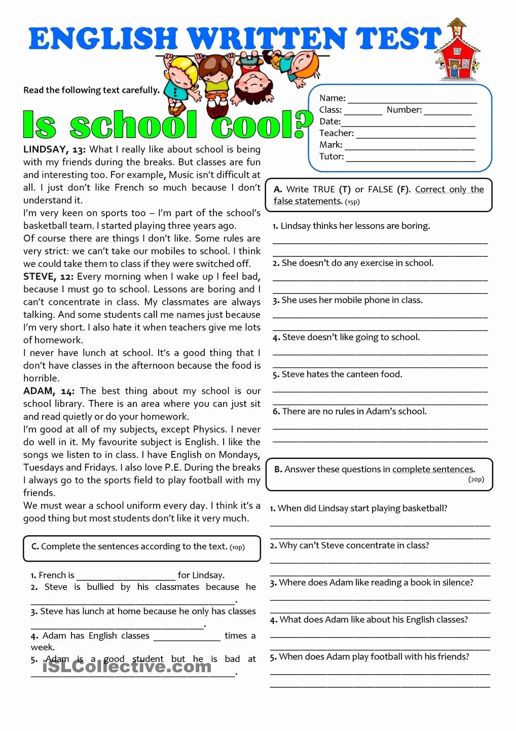 Free 7th Grade Reading Worksheets Printable is School Cool 7th Grade Test