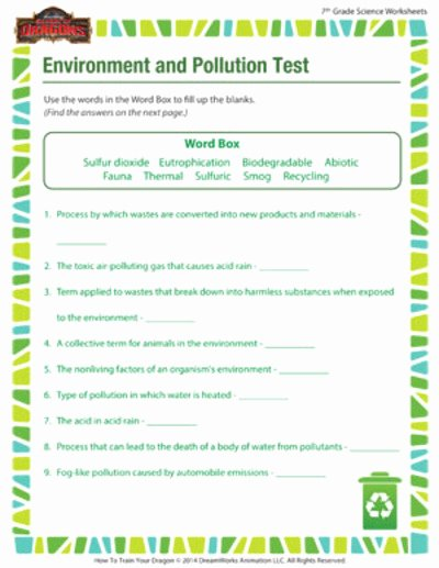 Free 7th Grade Science Worksheets top Environment and Pollution 7th Grade Science Worksheet