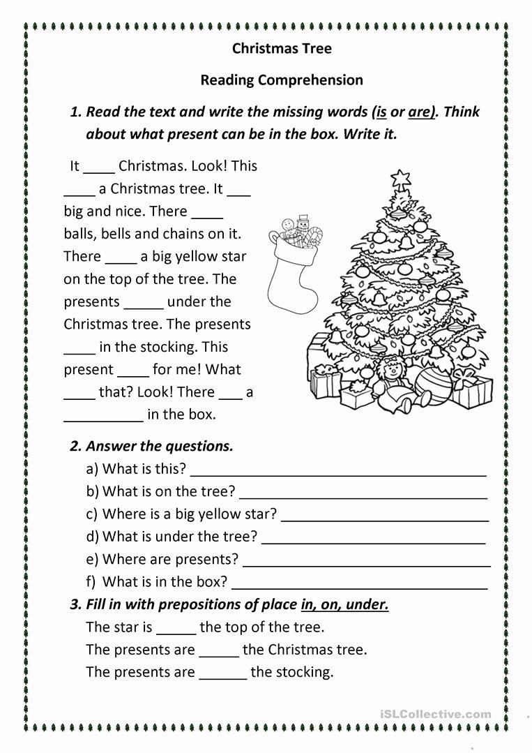 Free Christmas Reading Comprehension Worksheets Inspirational Christmas Tree English Esl Worksheets for Distance