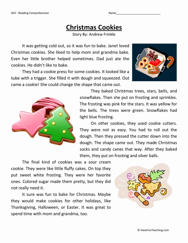 Free Christmas Reading Comprehension Worksheets Kids Christmas Cookies Reading Prehension Worksheet