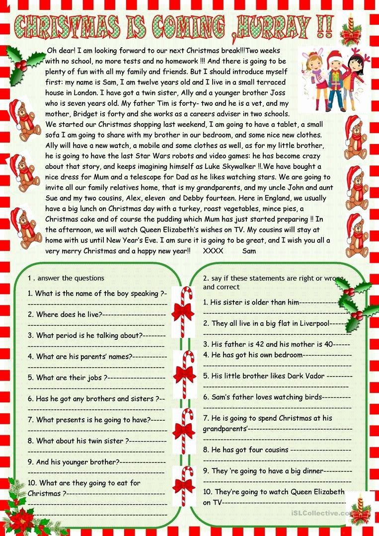 Free Christmas Reading Comprehension Worksheets New Christmas is Ing Christmas Reading Prehension